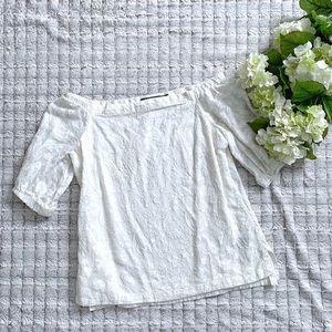 Ralph Lauren White Floral Off the Shoulder Blouse